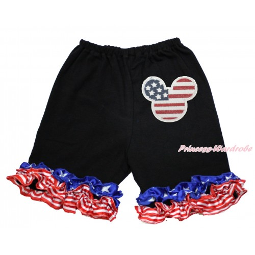 American's Birthday Black Cotton Short Pantie With Patriotic American Ruffles With American Striped Stars Minnie Print B084