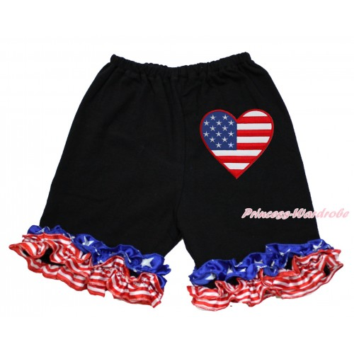 American's Birthday Black Cotton Short Pantie With Patriotic American Ruffles With Patriotic American Heart Print B085