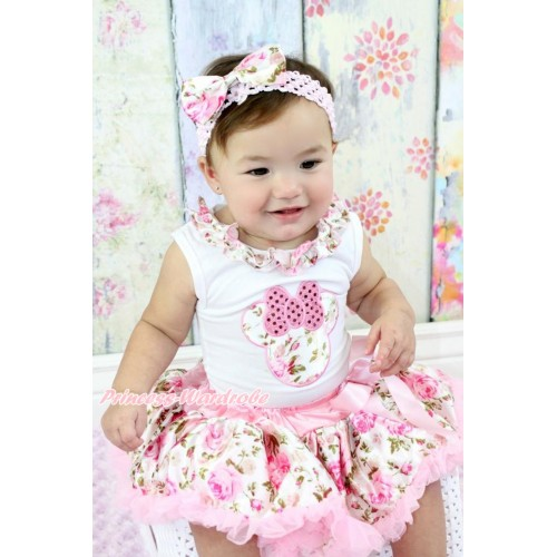 White Baby Pettitop Light Pink Rose Fusion Satin Lacing & Sparkle Light Pink Rose Minnie Print & Light Pink Rose Fusion Pettiskirt & Light Pink Headband Light Pink Rose Fusion Satin Bow NG1533