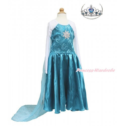 Frozen Elsa Rhinestone Snowflage Blue White Long Sleeve Cape Dress Party Costume C016