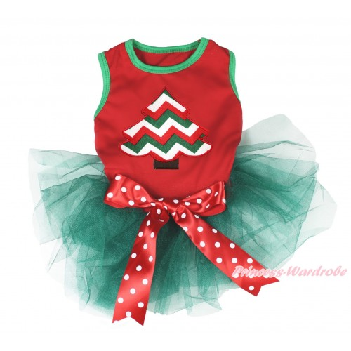 Xmas Red Sleeveless Teal Green Gauze Skirt & Red White Green Chevron Christmas Tree Print & Red White Polka Dots Bow Pet Dress DC191