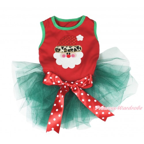 Xmas Red Sleeveless Teal Green Gauze Skirt & Leopard Santa Claus Print & Red White Polka Dots Bow Pet Dress DC192