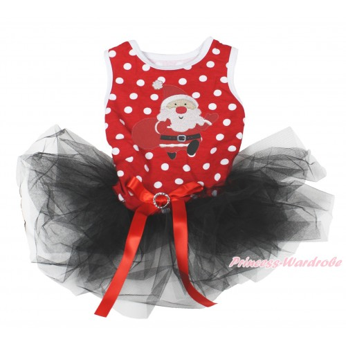 Xmas Minnie Dots Sleeveless Black Gauze Skirt & Gift Bag Santa Claus Print & Red Rhinestone Bow Pet Dress DC200