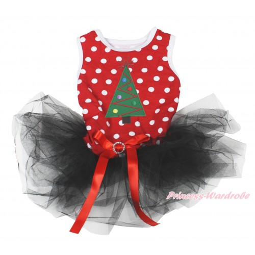 Xmas Minnie Dots Sleeveless Black Gauze Skirt & Christmas Tree Print & Red Rhinestone Bow Pet Dress DC201