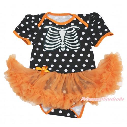 Halloween Black White Dots Baby Bodysuit Orange Pettiskirt & Skeleton Rib JS3973