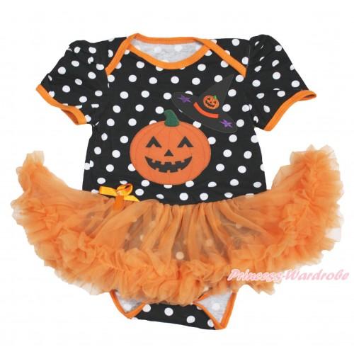 Halloween Black White Dots Baby Bodysuit Orange Pettiskirt & Pumpkin Witch Hat & Pumpkin JS3975