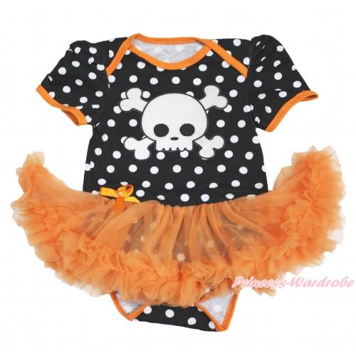 Halloween Black White Dots Baby Bodysuit Orange Pettiskirt & White Skeleton JS3976