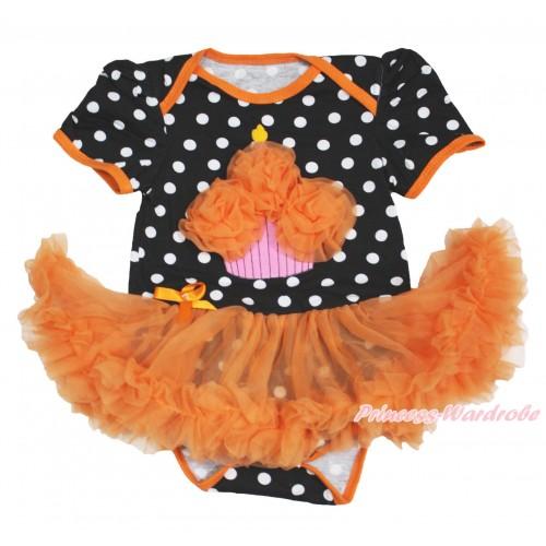 Black White Dots Baby Bodysuit Orange Pettiskirt & Orange Rosettes Birthday Cake JS3977