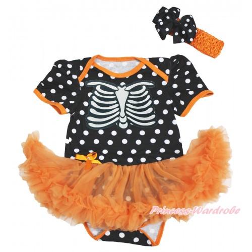 Halloween Black White Dots Baby Bodysuit Orange Pettiskirt & Skeleton Rib & Orange Headband Black White Dots Silk Bow JS3980