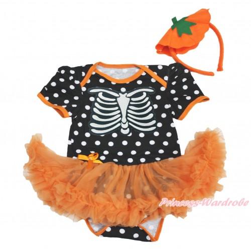 Halloween Black White Dots Baby Bodysuit Orange Pettiskirt & Skeleton Rib & Pumpkin Headband JS3985