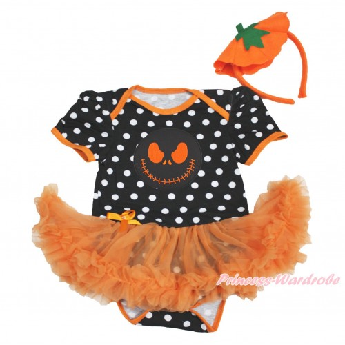 Halloween Black White Dots Baby Bodysuit Orange Pettiskirt & Nightmare Before Christmas Jack & Pumpkin Headband JS3986