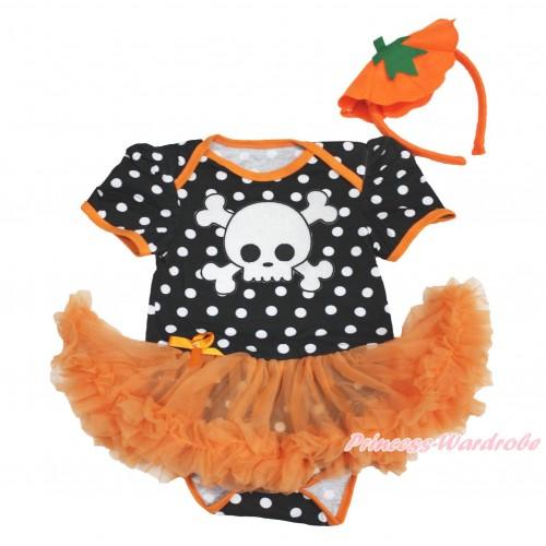 Halloween Black White Dots Baby Bodysuit Orange Pettiskirt & White Skeleton & Pumpkin Headband JS3988