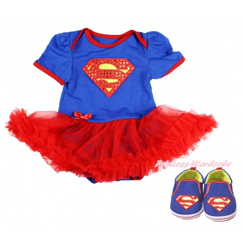 Royal Blue Baby Bodysuit Red Pettiskirt & Sparkle Red Superman Print & Royal Blue Superman Baby Shoes JS3995