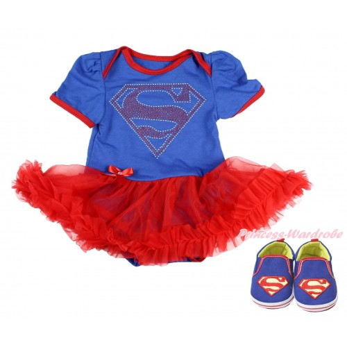 Royal Blue Baby Bodysuit Red Pettiskirt & Sparkle Rhinestone Superman Print & Royal Blue Superman Baby Shoes JS3996