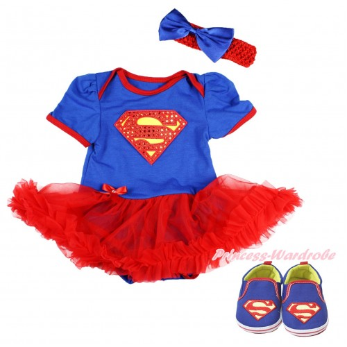 Royal Blue Baby Bodysuit Red Pettiskirt & Sparkle Red Superman Print & Red Headband Royal Blue Satin Bow & Royal Blue Superman Baby Shoes JS3997