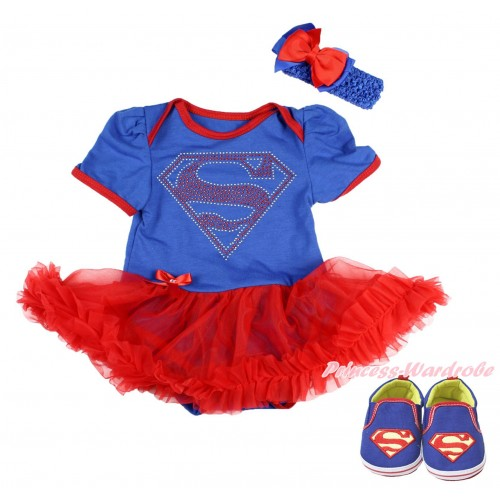 Royal Blue Baby Bodysuit Red Pettiskirt & Sparkle Rhinestone Superman Print & Royal Blue Headband Red Royal Blue Ribbon Bow & Royal Blue Superman Baby Shoes JS3998
