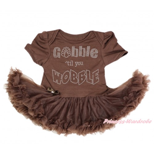 Thanksgiving Brown Baby Bodysuit Pettiskirt & Sparkle Rhinestone Gobble Till You Wobble Print JS3999