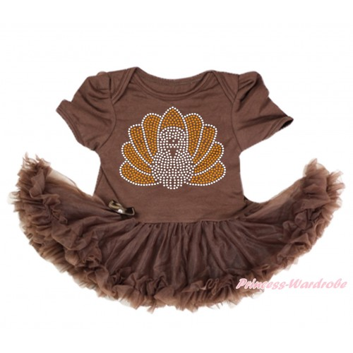 Thanksgiving Brown Baby Bodysuit Pettiskirt & Sparkle Rhinestone Turkey Print JS4000