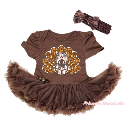 Thanksgiving Brown Baby Bodysuit Pettiskirt & Sparkle Rhinestone Turkey Print & Brown Headband Satin Bow JS4002