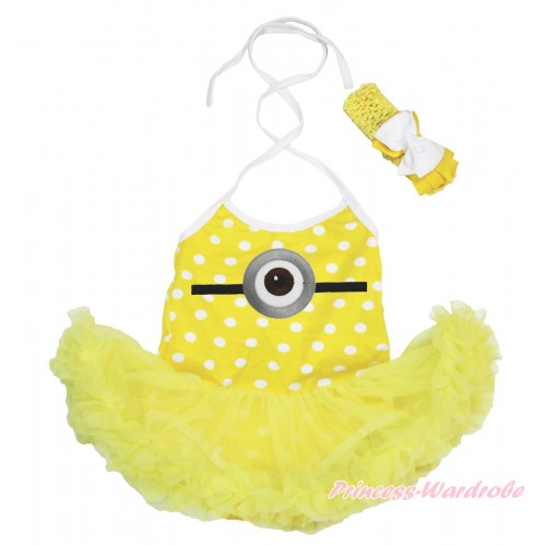 Yellow White Dots Baby Halter Jumpsuit Yellow Pettiskirt & Minion Print JS4265
