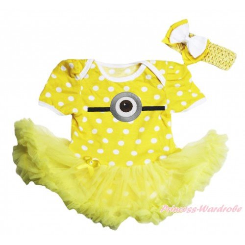 Yellow White Dots Baby Bodysuit Yellow Pettiskirt & Minion Print JS4266