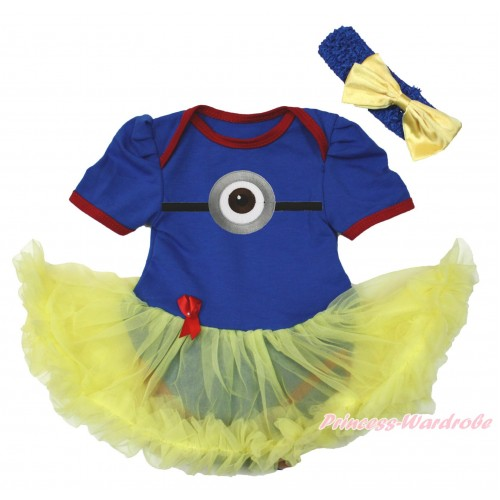 Royal Blue Red Ruffles Baby Bodysuit Yellow Pettiskirt & Minion Print JS4267