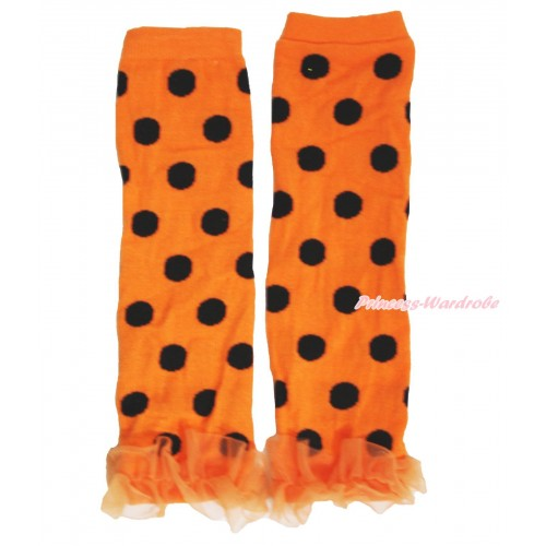 Halloween Newborn Baby Orange Black Dots Leg Warmers Leggings & Orange Ruffles LG284