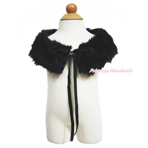 Black Soft Fur Stole Shawl Shrug Wrap Cape Wedding Flower Girl Shawl Coat SH88