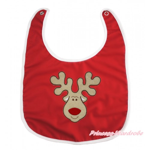 Xmas Hot Red Baby Bib & Christmas Reindeer Print BI16