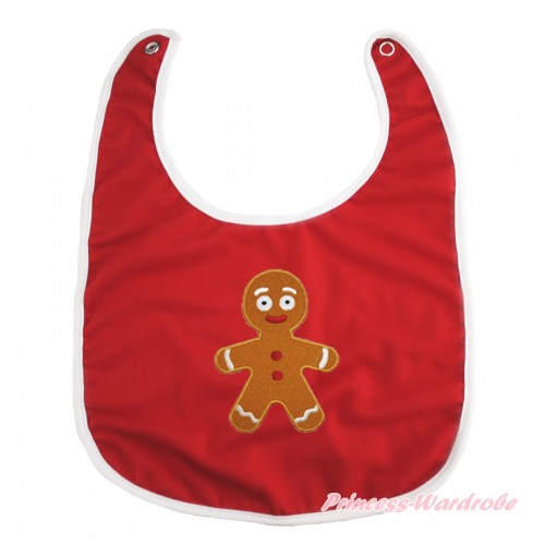 Xmas Hot Red Baby Bib & Brown Gingerbread Print BI17