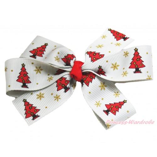 Xmas Red Christmas Tree White Ribbon Bow Hair Clip H921