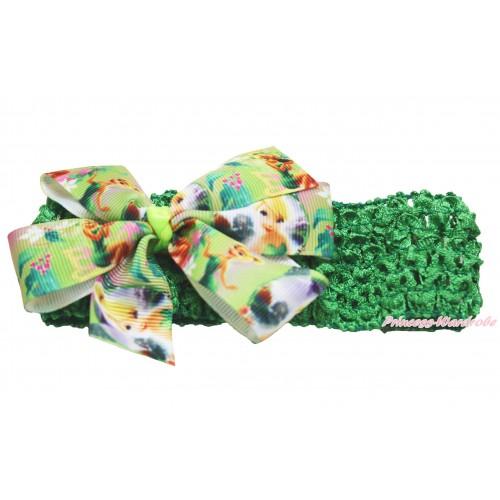 Fairy Kelly Green Headband & Tinker Bell Green Ribbon Bow Hair Clip H968