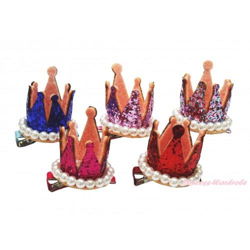 Sparkle Bling Pearl Princess Crown Hair Clip H972