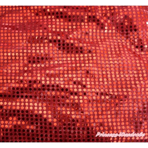 1 Yard Hot Red Bling Sparkle Sequins Fabrics HG127