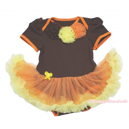 Thanksgiving Brown Baby Bodysuit Orange Yellow Pettiskirt & Brown Yellow Orange Rosettes JS4008
