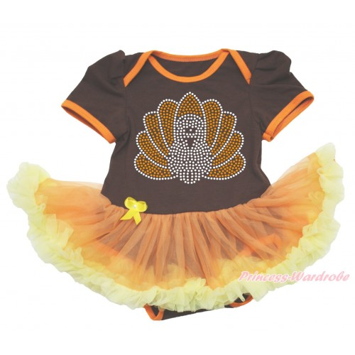Thanksgiving Brown Baby Bodysuit Orange Yellow Pettiskirt & Sparkle Rhinestone Turkey JS4009