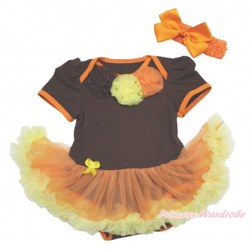 Thanksgiving Brown Baby Bodysuit Orange Yellow Pettiskirt & Brown Yellow Orange Rosettes & Orange Headband Silk Bow JS4017