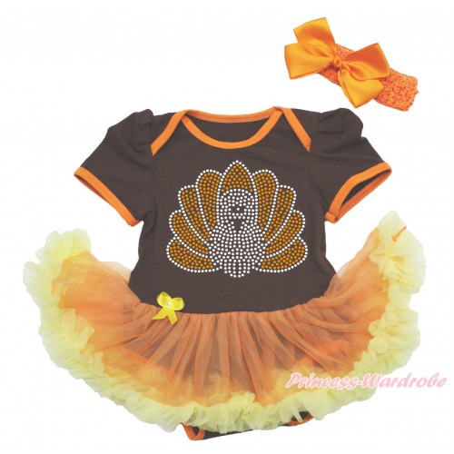Thanksgiving Brown Baby Bodysuit Orange Yellow Pettiskirt & Sparkle Rhinestone Turkey & Orange Headband Silk Bow JS4018