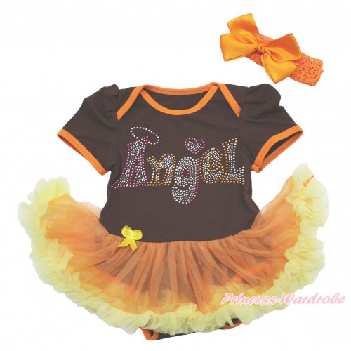 Brown Baby Bodysuit Orange Yellow Pettiskirt & Sparkle Rhinestone Angel & Orange Headband Silk Bow JS4020