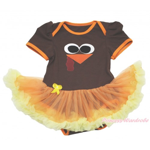 Thanksgiving Brown Baby Bodysuit Orange Yellow Pettiskirt & Turkey Face JS4025