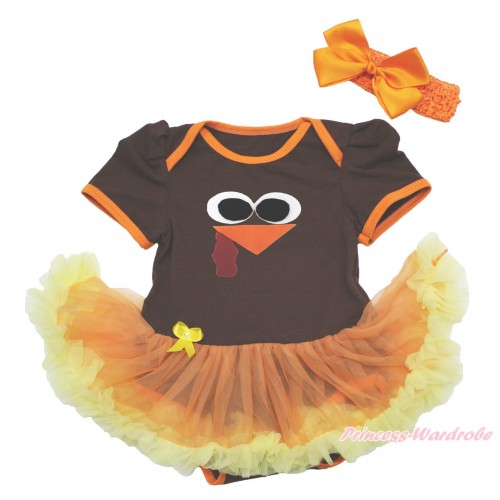 Thanksgiving Brown Baby Bodysuit Orange Yellow Pettiskirt & Turkey Face & Orange Headband Silk Bow JS4026