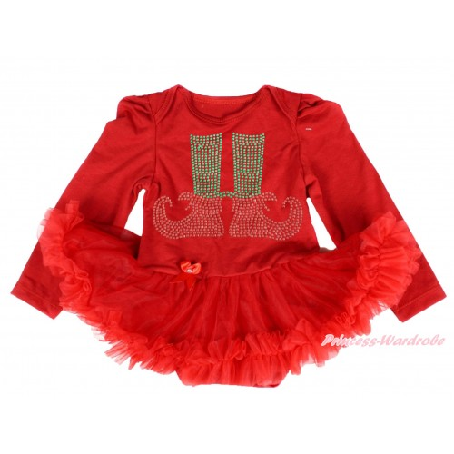 Xmas Red Long Sleeve Baby Bodysuit Pettiskirt & Sparkle Rhinestone Elf Socks Print JS4086