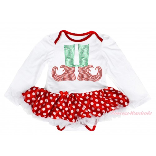 Xmas White Long Sleeve Baby Bodysuit Minnie Dots White Pettiskirt & Sparkle Rhinestone Elf Socks Print JS4087