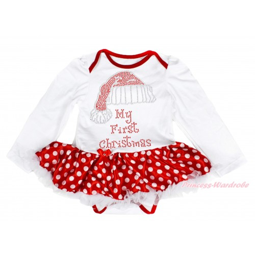 Xmas White Long Sleeve Baby Bodysuit Minnie Dots White Pettiskirt & Sparkle Rhinestone Christmas Hat Print JS4088