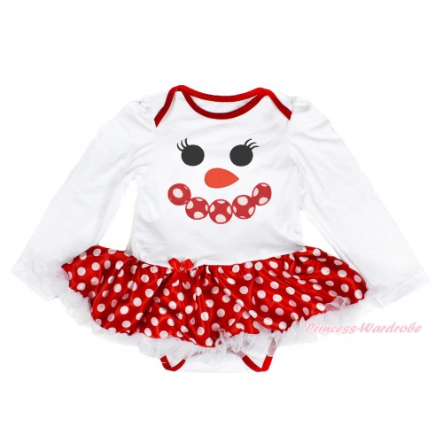 Xmas White Long Sleeve Baby Bodysuit Minnie Dots White Pettiskirt & Minnie Dots Snowman Face Print JS4089