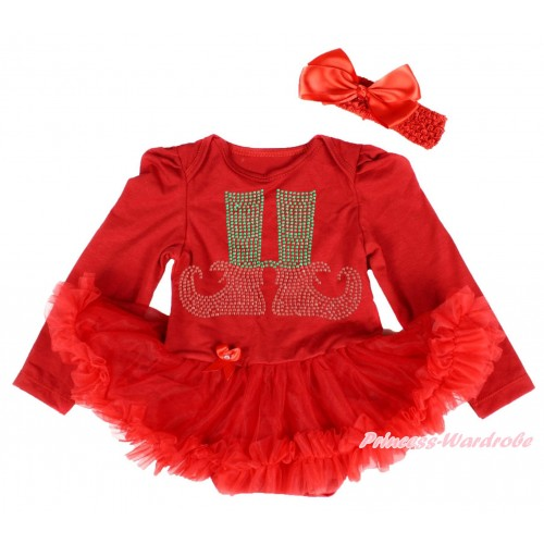 Xmas Red Long Sleeve Baby Bodysuit Pettiskirt & Sparkle Rhinestone Elf Socks Print & Red Headband Silk Bow JS4090