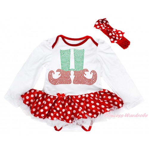Xmas White Long Sleeve Baby Bodysuit Minnie Dots White Pettiskirt & Sparkle Rhinestone Elf Socks Print & Red Headband Minnie Dots Satin Bow JS4091