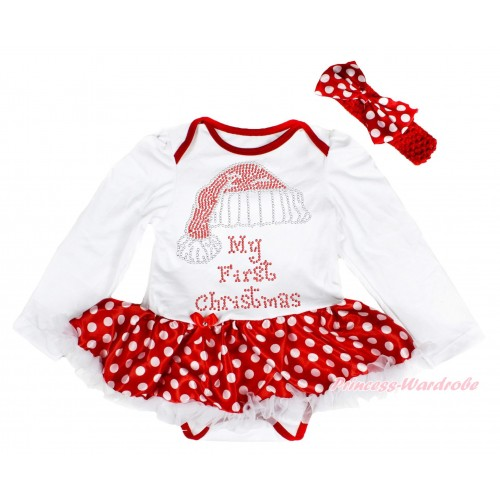 Xmas White Long Sleeve Baby Bodysuit Minnie Dots White Pettiskirt & Sparkle Rhinestone Christmas Hat Print & Red Headband Minnie Dots Satin Bow JS4092