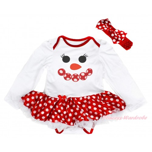Xmas White Long Sleeve Baby Bodysuit Minnie Dots White Pettiskirt & Minnie Dots Snowman Face Print & Red Headband Minnie Dots Satin Bow JS4093