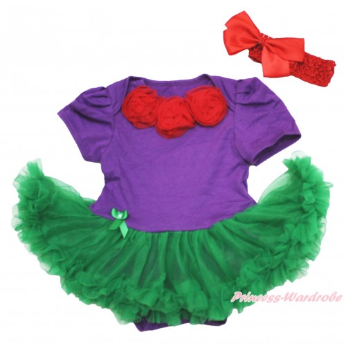 Dark Purple Baby Bodysuit Kelly Green Pettiskirt & Red Rosettes & Red Headband Silk Bow JS4112